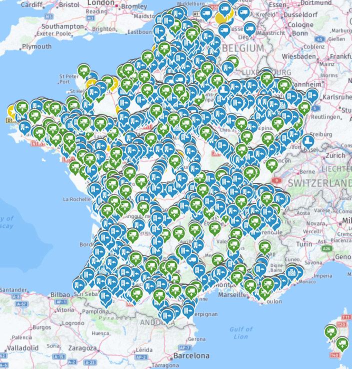 points d'intérêt sur une carte française