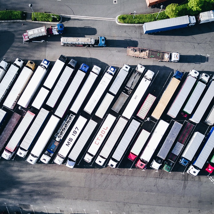 lorries parked in a car park